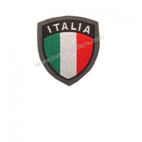 Scudetto Italia Ricamato Bordo Grigio con Velcro