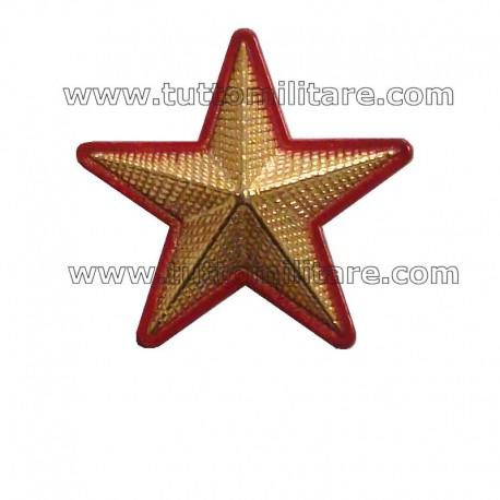 Stella Militare Oro a 5 Punte Zigrinata Bordo Rosso con Viti