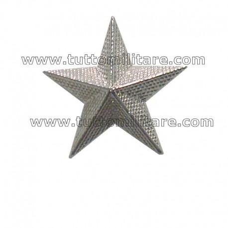 Stelle Militari Zigrinate in Metallo Argento a 5 Punte con Vite cm. 2,5