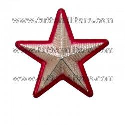 Stella Militare Argento Zigrinata Bordo Rosso a 5 Punte