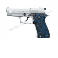 Pistola a Salve Beretta 85 Cromata Guanciole Blu