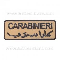 Targhetta Ricamata Carabinieri Scritta Arabo Sfondo TAN