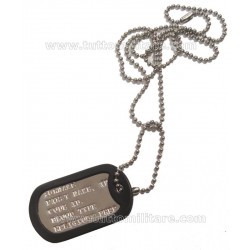 Piastrina Militare US con catenella e gommino silenziatore