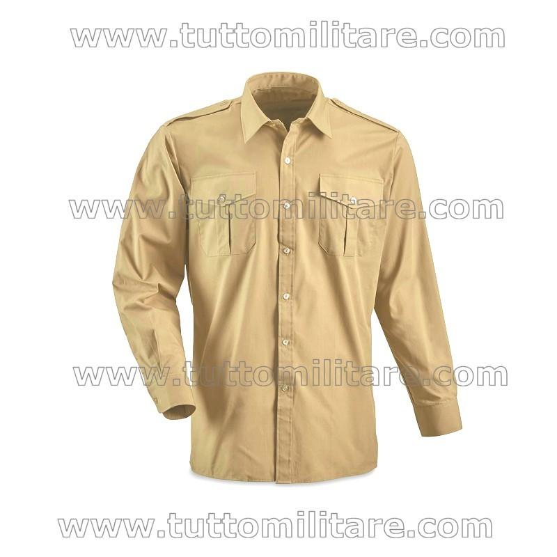 Camicia Militare Esercito Kaki Chiaro Manica Lunga ... 543adad90095