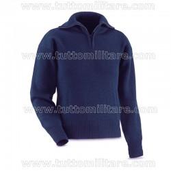 Maglione Blu Collo Alto Cerniera Marina Militare
