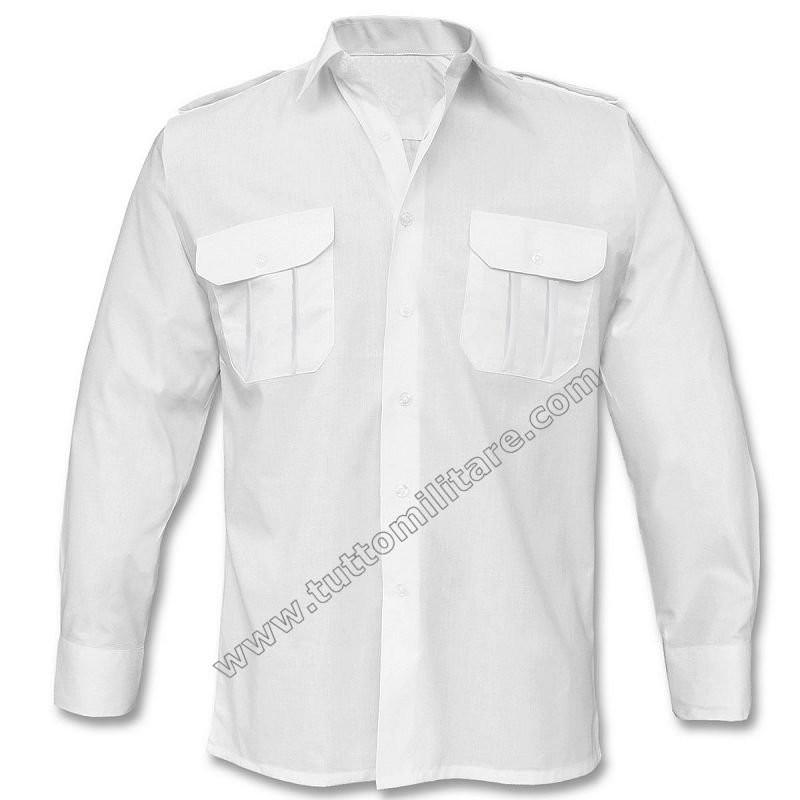 size 40 78c08 77e9c Camicia Bianca Militare Maniche Lunghe con Spalline
