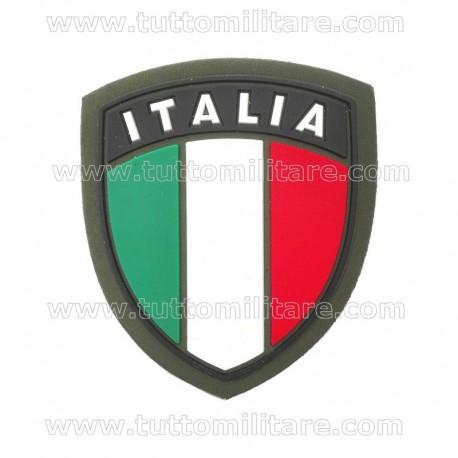Scudetto Italia Plastica Bordo Verde con Velcro