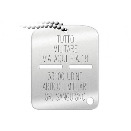 Piastrina Identificativa Esercito Personalizzata
