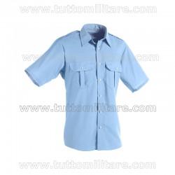 Camicia Militare Azzurra Manica Corta Controspalline