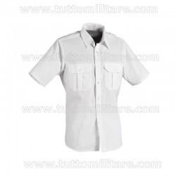 Camicia Militare Bianca Maniche Corte con Spalline