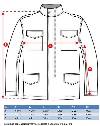 Misure Giaccone M-65 Field Jacket